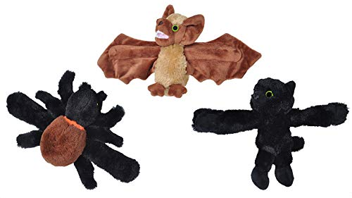 Wild Republic Huggers Halloween Bundle, Plush Spider, Black Cat, Bat, Glow in The Dark Eyes, 8