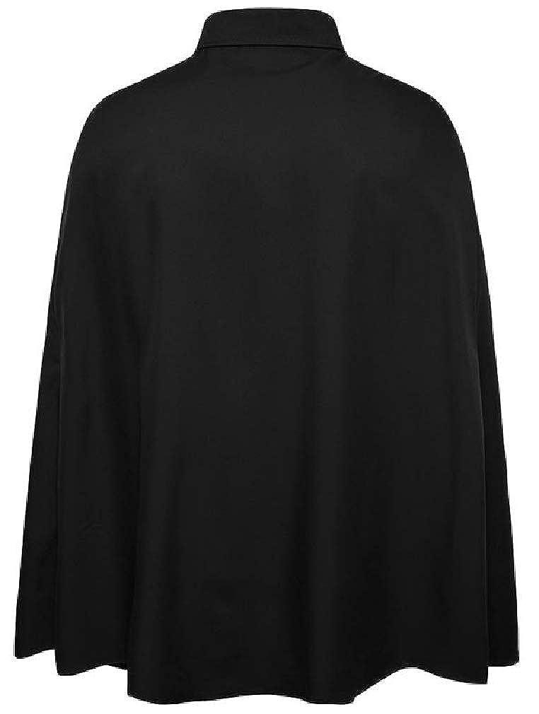Cromoncent Mens Lapel Neck Cape Pleated Irregular Button Down Shirts
