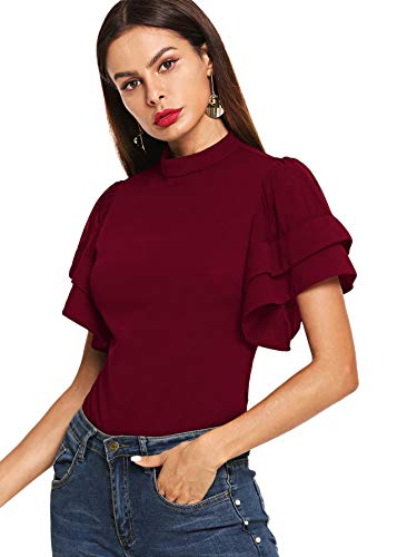 Sleeve Tiered Top (WDIRARA Women's Ruffle Butterfly Sleeve Tee Shirt Tiered Layer Short Sleeve Blouse Top Burgundy L)