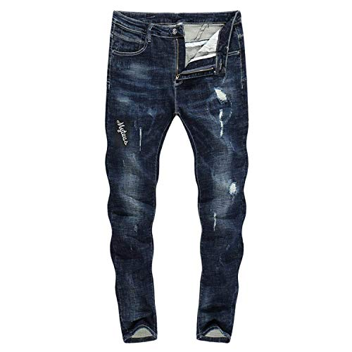 Neri Strappati Pantaloni Gamba Thick Zlh Dritta Biker Comodo color 28 Battercake Jeans 3129 Size Stretch Uomo Da A 2018 58qvXw