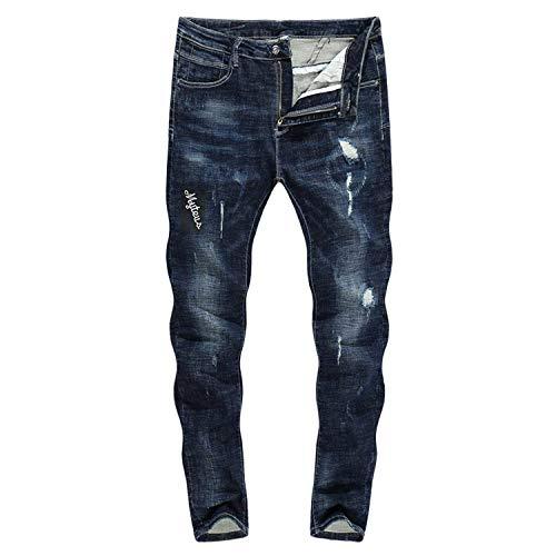 Gamba Stretch A color Biker Saoye Strappati Uomo 30 Size Neri Pantaloni Jeans Fashion Giovane Da Zlh 2018 Dritta 3129 Thick wPPY7xZ
