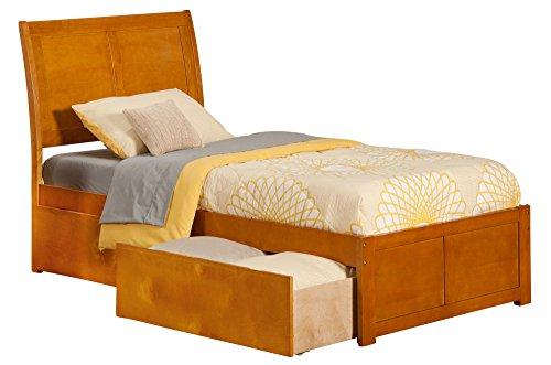(Atlantic Furniture AR8912117 Portland Platform Bed with 2 Urban Bed Drawers, Twin XL, Caramel)