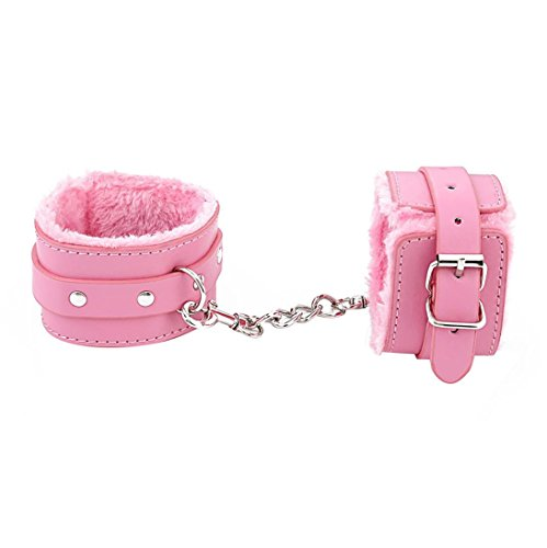Hometom Adjustable Restraints Toy Plush PU Leather Slave Wrist & Ankle Handcuffs Hand Restraints Toys (Pink)