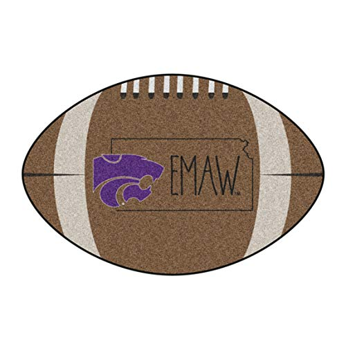 NCAA Kansas State University Wildcats Football Shaped Mat Area Rug