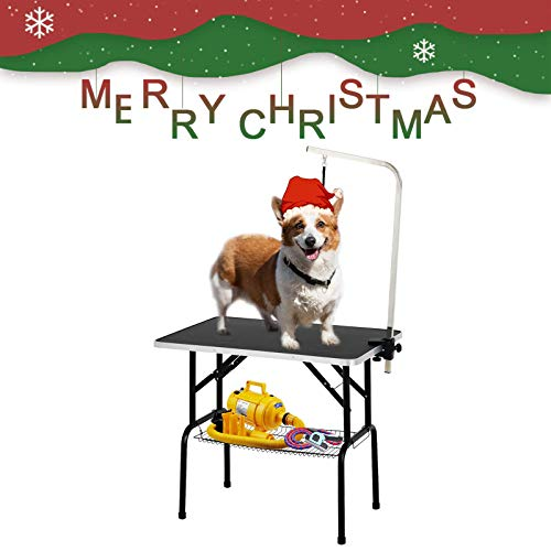 SUNCOO 36 in Foldable Pet Dog Cat Grooming Table Professional Drying Trimming Table,Portable Groomer Station w/Adjustable Arm, Noose, Mesh Tray,Heavy Duty Steel