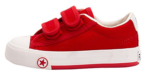 Femizee Boys Girls Classic Casual Basic Canvas Shoes Fashion Sneakers(Toddler/Little Kid/Big Kid),Red 1314 CN36