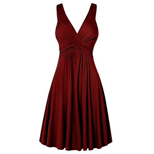 iHPH7 Women's Vintage Dresses Off Shoulder Boat Neck Cocktail Formal Swing Dress Plus Size V-Neck Retro Sling Pleated Slim Flare Skirt Dress (XXL,Red) ()