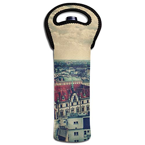 YYH Single Wine Tote Bag,Insulated Padded Thermal Wine Bottle Carrying Cooler Carrier for Picnic,Prague Square -
