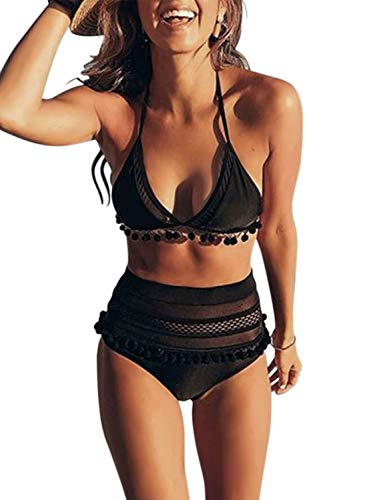 - Actloe Women High Waist Striped Halter Bikini Set Two Pieces Tassel Swimsuit Black Large
