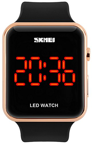 Fanmis Students Womens Black Silicone Band Mirror Red LED Digital Display Sport Wrist Watch Rose Gold