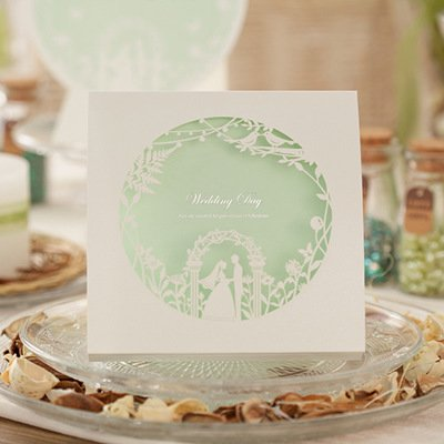 WISHMADE Wedding Invitations 50 Kits Laser Cut Bride Groom White& Green with Envelopes, -