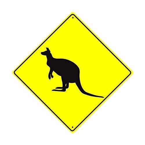 Kangaroo Sign Road (Shirllyn New Quality Metal Road Sign Kangaroo Wallaby Crossing Xing Wildlife Animal Caution Crossing Funny Yellow Diamond Tin Sign Home Decor 12x12 Inches)