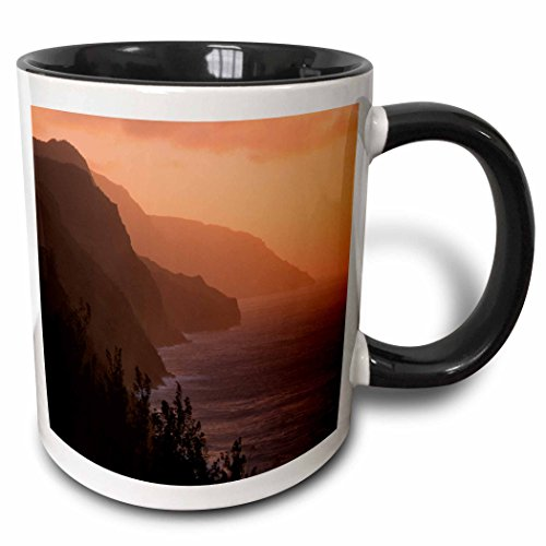 (3dRose Danita Delimont - Coastlines - USA, Hawaii, Kauai. Na Pali Cliffs at Sunset from Kalalau Trail. - 15oz Two-Tone Black Mug (mug_205296_9))