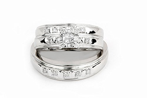 - Sizes - L = 7, M = 10 - 10K White Gold Diamond Mens and Ladies His & Hers Trio Three Ring Bridal Matching Engagement Wedding Ring Band Set - Square Princess Shape Center Setting w/ Channel Set Round & Baguette Diamonds - (1/3 cttw) - Please use drop down menu to select your desired ring sizes