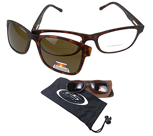Polarized Bifocal Readers. Bifocal Glasses & Easy Magnetic Polarized - On Spring Loaded Sunglasses Clip