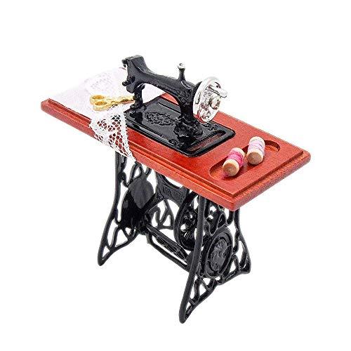 (Odoria 1:12 Miniature Vintage Sewing Machine Dollhouse Decoration Accessories)