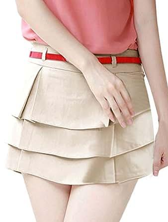 Ladies Waistband Loop Zip Closure Tiered Belted Casual Pant Skort