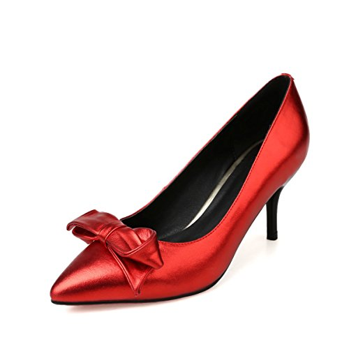 Bowknot Pumps BalaMasa Spun Cut Shoes Girls Cow Red Leather Gold Uppers Low z6wqt6na