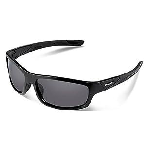 Duduma Polarized Sports Sunglasses for Men Women Baseball Running Cycling Fishing Driving Golf Softball Hiking Sunglasses Unbreakable Frame Du645(Black matte frame with black lens)