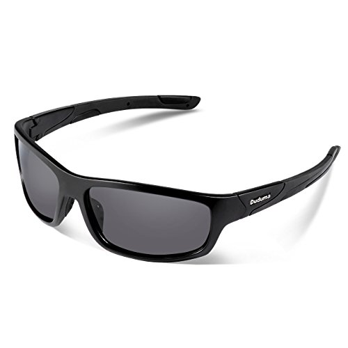 Duduma Polarized Sports Sunglasses for Men Women Baseball Running Cycling Fishing Driving Golf Softball Hiking Sunglasses Unbreakable Frame Du645(Black matte frame with black - Sunglasses Extreme Sports