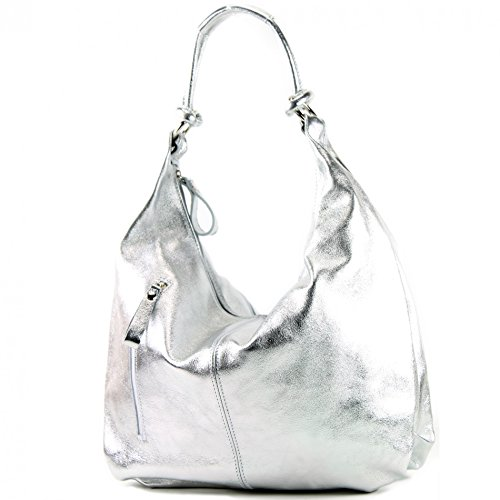 bag bag leather bag metallic Silber bag women's 337 Italian handbag hobo CfqX77w