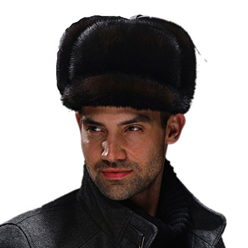 URSFUR Men's Premium Mink Full Fur Full Russian Ushanka Trapper Hats ( Brown) by URSFUR