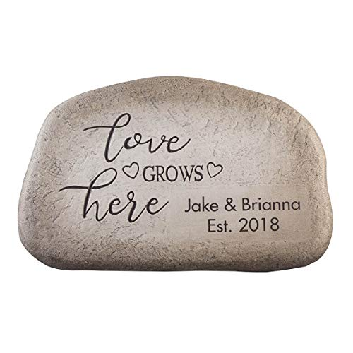 (Fox Valley Traders Personalized Love Grows Here Garden Stone )