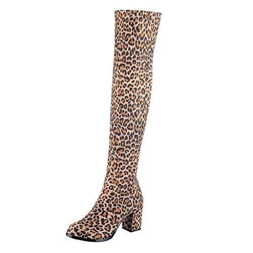 (Creazrise Women's Thigh High Fashion Over The Knee Zipper Block Heel Boot (Yellow,7))