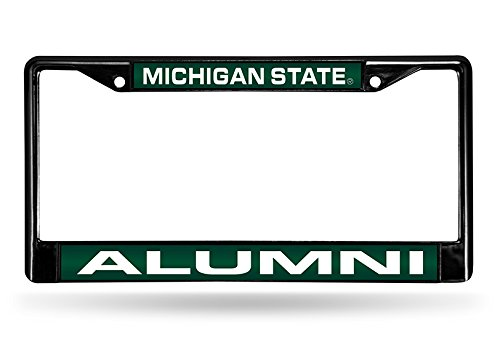 Rico Industries NCAA Michigan State Spartans Alumni Laser Cut Inlaid Standard Chrome License Plate Frame