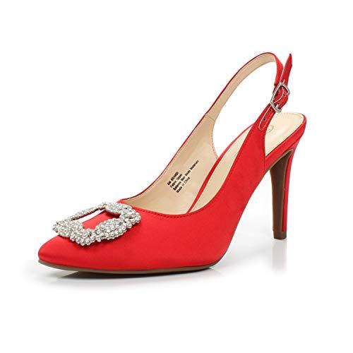 DUNION Women's Brandi Point Toe Rhinestone Buckle Satin Sling Back Stiletto High Heel Dress Pump,Brandi Red,7 B(M) US