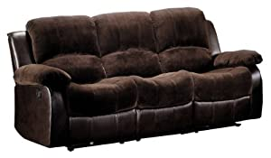 Amazon Com Homelegance 9700fcp 3 Double Reclining Sofa Brown Plush Microfiber Kitchen Amp Dining