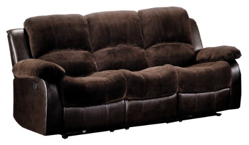 Homelegance 9700FCP-3 Double Reclining Sofa, Brown Plush Microfiber Brown Reclining Sofa