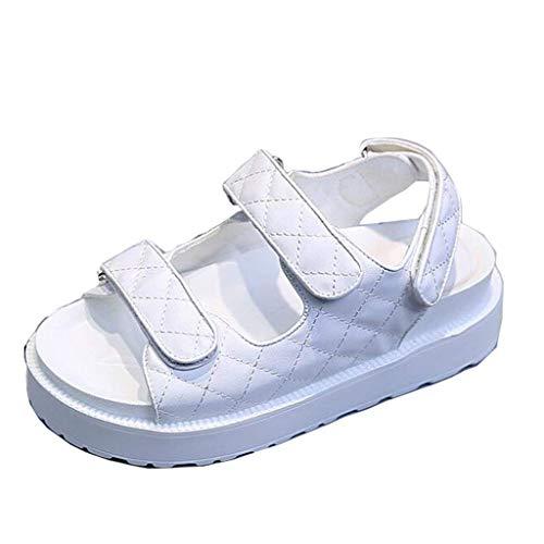 Mujer Con Sandalias Blanco De Hebilla 2 color Hhgold Para Uk Velcro Tamaño Blanco gqCU4