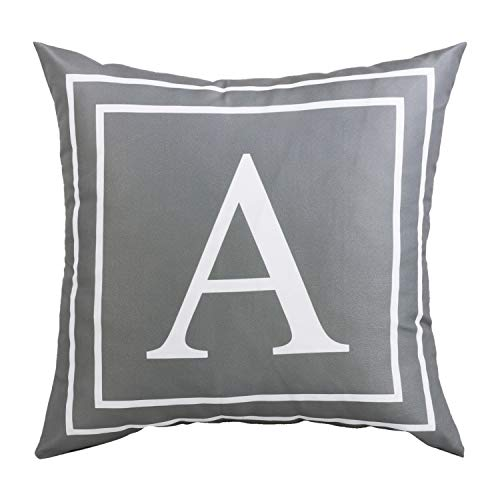 BLEUM CADE Gray Pillow Cover English Alphabet A Throw Pillow Case Modern Cushion Cover Square Pillowcase Decoration for Sofa Bed Chair Car