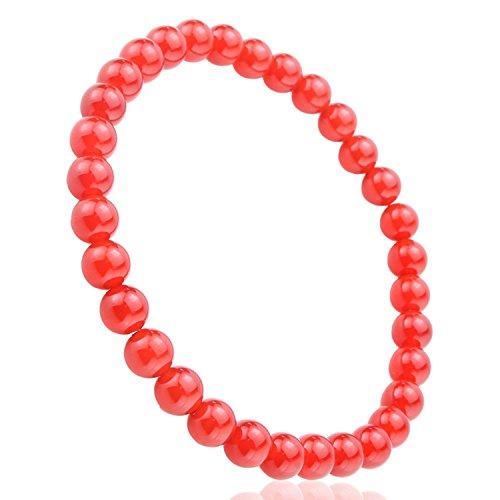 JewelrieShop Unisex Synthetic Stones Healing Power Crystal Elastic Stretch 6mm Beaded (Elastic Power Bracelet)