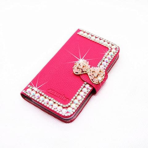 Luxury 3D Fashion Pearl Bow Flower Bling Diamond Bow PU Flip Wallet Leather Case Cover For Smart Mobile Phones (ZTE ZMax Z970 , Rose (Zte Zmax Phone Cases With Pearls)