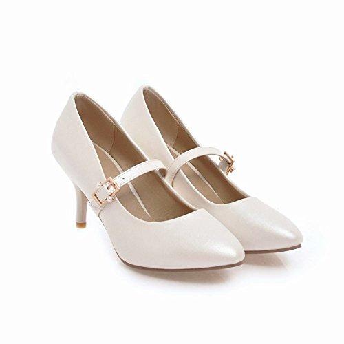 Charm Foot Womens Sweet Mary Jane Fibbia Scarpe Col Tacco Alto Scarpe Bianche