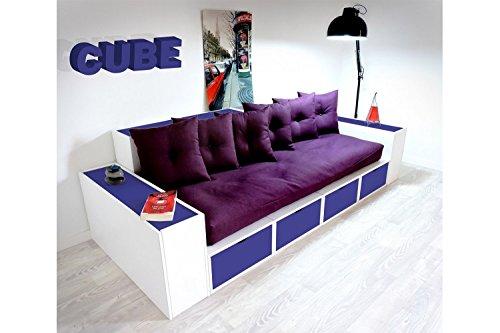 ABC MEUBLES - Boxensofa, mit Schubladen - CANAPCUBLB - Bleu foncé