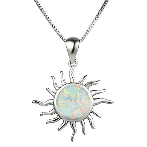 OMZBM Created 925 Sterling Silver Round Blue/White Fire Opal Pendant Necklace,Charm Hypoallergenic Simulated Gemstone Sun Dangle Clavicle Chain Birthstone Gift,White ()
