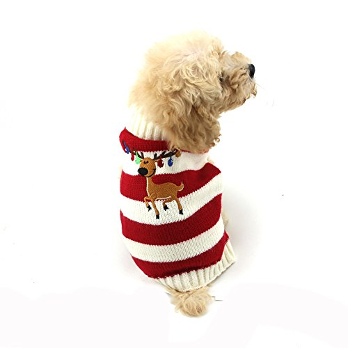 NACOCO Dog Sweater Pet Christmas Elk Bells Sweaters Halloween Reindeer for Small Dog and Cat (M, Red) for $<!--$11.99-->