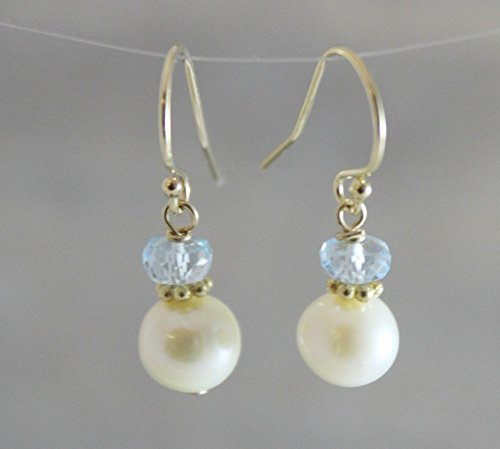 Cultured Freshwater Pearl and Blue Topaz Earrings