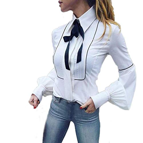 Realdo Women Blouse, Long Lantern Sleeve Shrink Waist Office Work White Basic Buttons Bow Tie Top(White,Small)