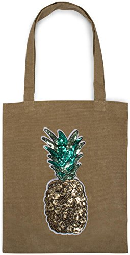 applique canvas fabric tote pineapple bag shopping Khaki bag Bag color Khaki styleBREAKER 02012215 sequin bag with unisex XSyH8