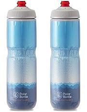 Polar Bottle Breakaway Insulated Bike Water Bottle - BPA Free, Cycling & Sports Squeeze Bottle 2-Pack (Ridge - Blue & Silver, 24 oz)
