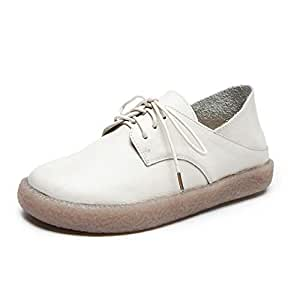 Women's Casual Shoes New Spring Lazy Shoes Leather Lace-Up Soft-Soled ShoesLow-Top Walking Shoes Loafers & Slip-Ons,White,35