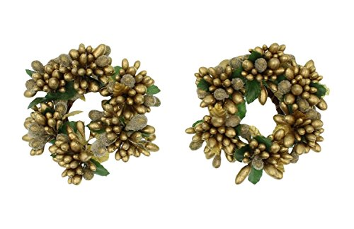 Berry Taper Candle Ring - Set of 2 (Two) 3-inch Beaded Berry Wreath Candlering Candle Napkin Ring Gold
