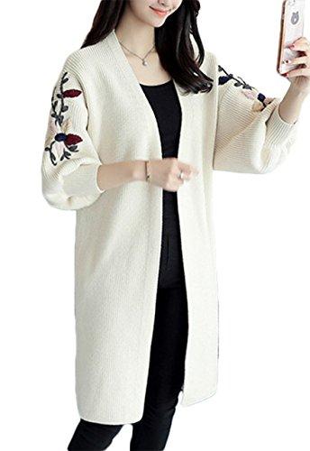 (エスティーリーフ)Esty leaf レディース 花柄 刺繍 ニット ロング カーディガン 長袖 ゆったり 膝丈 大きいサイズ 森ガール フリー 白 ホワイト