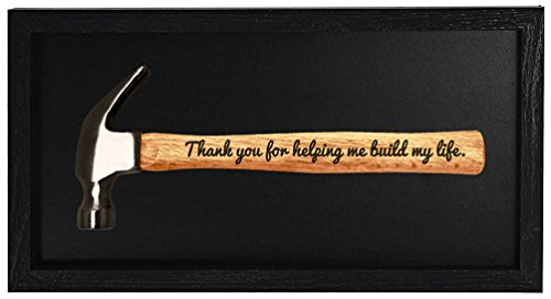 Father's Day Gift Thank You for Helping Me Build My Life DIY Gift Engraved Wood Handle Steel Hammer Shadow Box Display Case Christmas Gift for Dad or Grandpa Hammer Display Case Shadow Box Frame