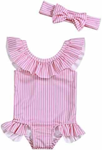 365b648b2a Baby Girl Bikini Striped Beach Swimsuit Ruffles Bathing Suit Swimwear+Headband  2 Pcs Set