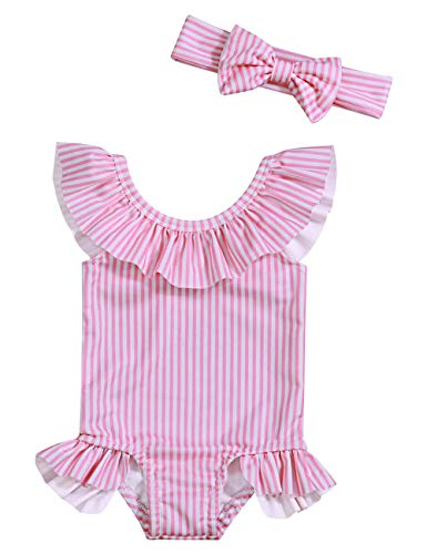 Oklady Baby Girl One Piece Swimsuit Stripe Bikini Beach Bathing Suit Infant Swimwear with Bow Headband 0-3 - Swimsuits Girl Newborn